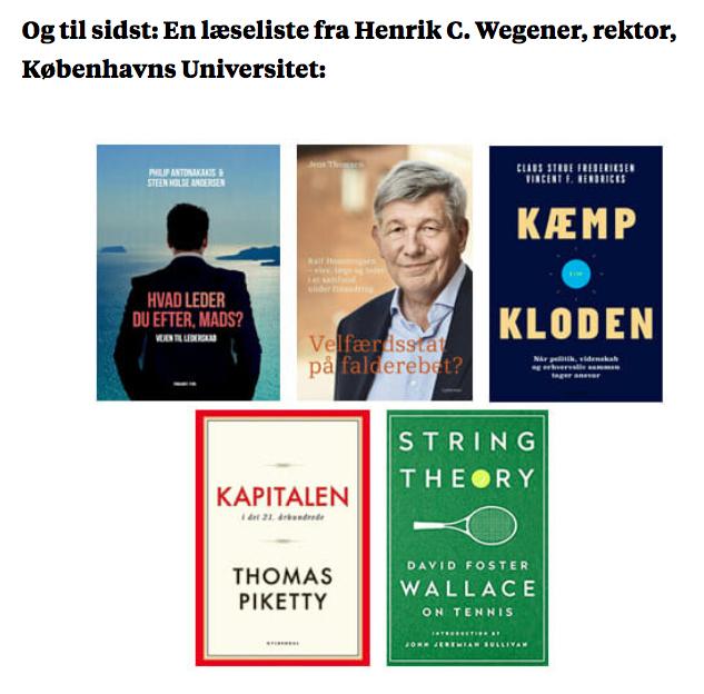 Rektor på Københavns Universitet, Henrik C. Wegener tog bogen med på ferie